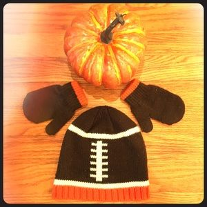 Boys Size 2-5T Football hat and mittens